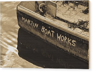 Martin Boat Works Wood Print by Mike Martin