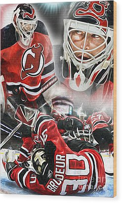 Martin Brodeur Collage Wood Print by Mike Oulton