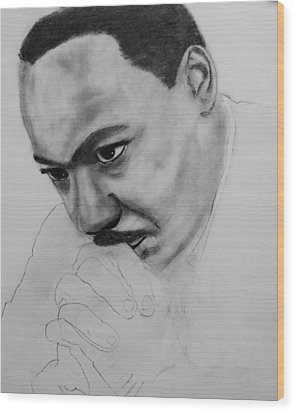 Wood Print featuring the drawing Martin Luther King Jr. Mlk Jr. by Michael Cross