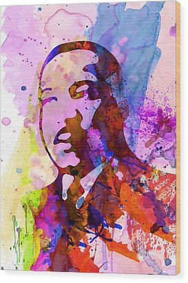 Martin Luther King Jr Watercolor Wood Print by Naxart Studio