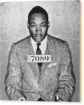 Martin Luther King Mugshot Wood Print by Bill Cannon