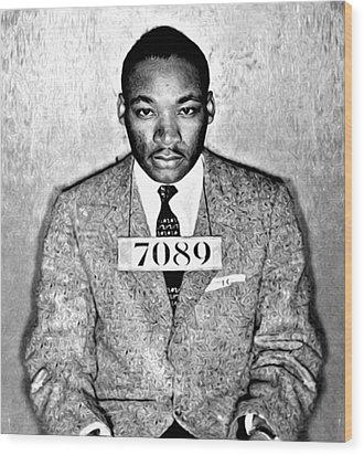 Martin Luther King Mugshot Wood Print