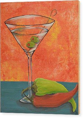 Martini And Pepper Wood Print