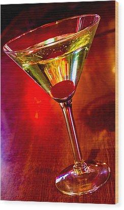 Martini At The Local Pub Wood Print