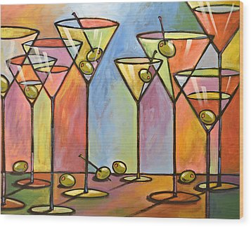 Martini Bar ... Abstract Alcohol Art Wood Print