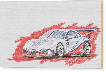 Martini Porsche 911 Gt3 Wood Print