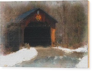 Wood Print featuring the photograph Martinsville Covered Bridge by Mike Martin
