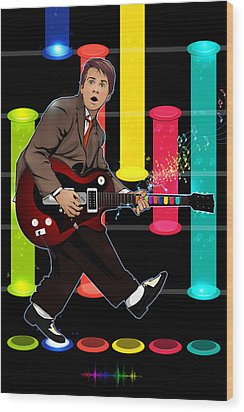 Marty Mcfly Plays Guitar Hero Wood Print by Akyanyme