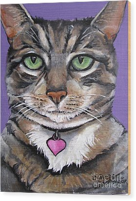 Marvelous Minnie The Gallery Cat Wood Print