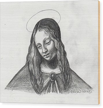 Mary After Davinci Wood Print by Genevieve Esson