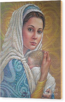 Wood Print featuring the pastel Mary Did You Know    by Jane Bucci