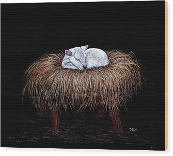 Wood Print featuring the painting Mary Had A Little Lamb by Dee Dee  Whittle