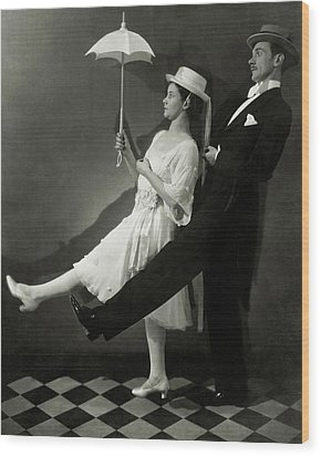 Mary Hay And Clifton Webb Dancing Wood Print by Edward Steichen