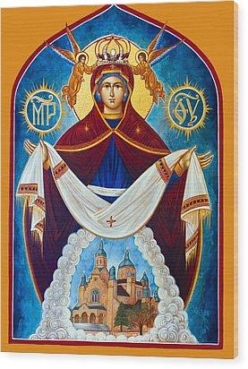 Mary In Red Wood Print by Munir Alawi