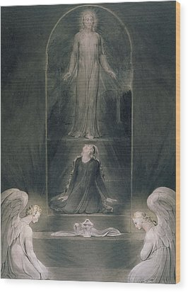 Mary Magdalene At The Sepulchre Wood Print by William Blake