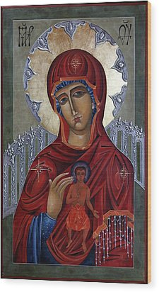 Mary Of The Burning Bush Wood Print by Mary jane Miller
