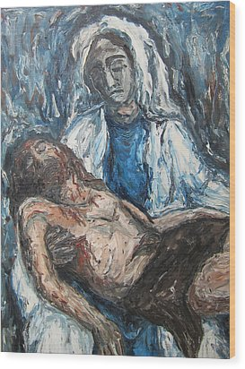 Wood Print featuring the painting Mary With Jesus by Cheryl Pettigrew