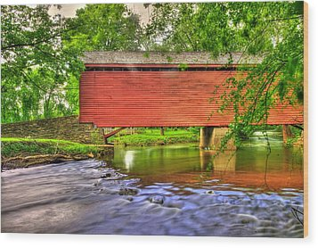 Maryland Country Roads - Peaceful Crossing - Loys Station Covered Bridge 3a Spring Wood Print by Michael Mazaika