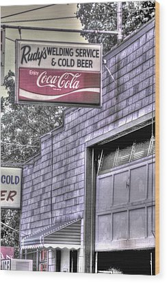 Maryland Country Roads - Some Things Just Go Together No. 1 - Rudys Welding And Cold Beer Wood Print by Michael Mazaika