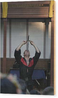 Maryland Renaissance Festival - Johnny Fox Sword Swallower - 1212124 Wood Print by DC Photographer