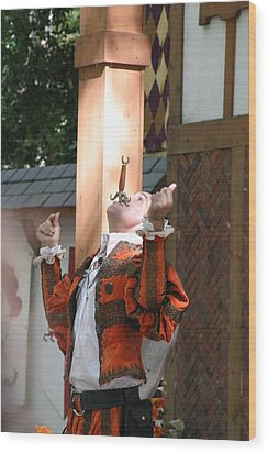 Maryland Renaissance Festival - Johnny Fox Sword Swallower - 121233 Wood Print by DC Photographer