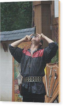 Maryland Renaissance Festival - Johnny Fox Sword Swallower - 121263 Wood Print by DC Photographer