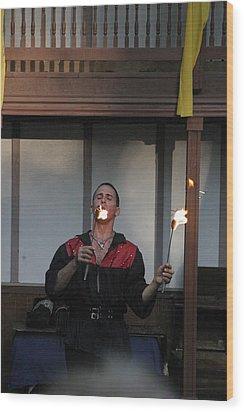 Maryland Renaissance Festival - Johnny Fox Sword Swallower - 121296 Wood Print by DC Photographer