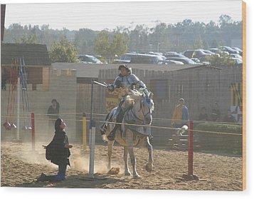 Maryland Renaissance Festival - Jousting And Sword Fighting - 1212156 Wood Print by DC Photographer