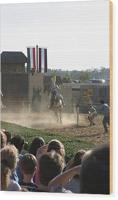 Maryland Renaissance Festival - Jousting And Sword Fighting - 1212174 Wood Print by DC Photographer