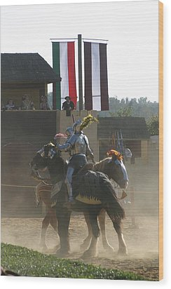 Maryland Renaissance Festival - Jousting And Sword Fighting - 1212175 Wood Print by DC Photographer