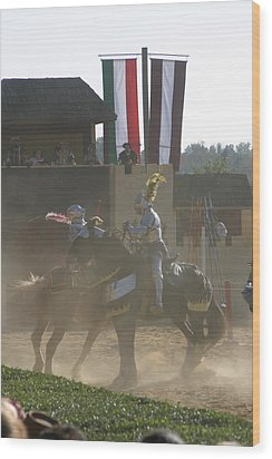 Maryland Renaissance Festival - Jousting And Sword Fighting - 1212180 Wood Print by DC Photographer