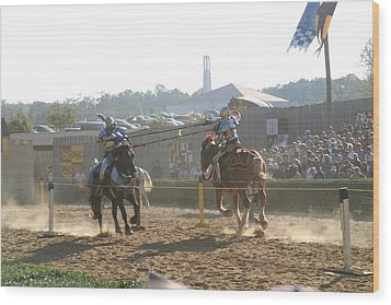 Maryland Renaissance Festival - Jousting And Sword Fighting - 1212192 Wood Print by DC Photographer