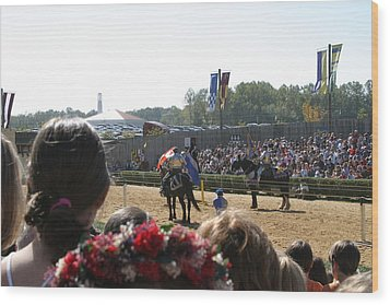 Maryland Renaissance Festival - Jousting And Sword Fighting - 1212209 Wood Print by DC Photographer
