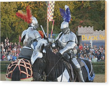 Maryland Renaissance Festival - Jousting And Sword Fighting - 121247 Wood Print by DC Photographer