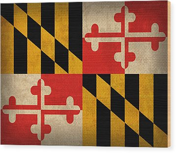Maryland State Flag Art On Worn Canvas Wood Print by Design Turnpike