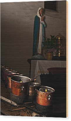 Wood Print featuring the photograph Mary's Candles by Andy Crawford