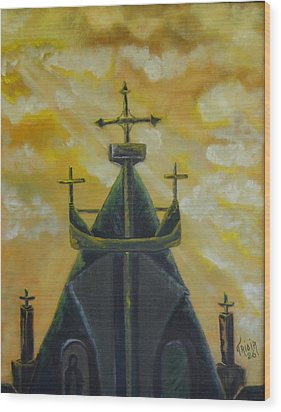 Mary's Cathedral In The Sky Wood Print by Tricia Concienne