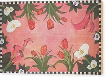 Wood Print featuring the painting Marys Garden by Cindy Micklos