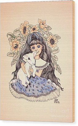 Mary's Lamb Wood Print by Lenora Brown
