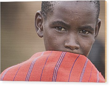 Wood Print featuring the photograph Masai #1 by Antonio Jorge Nunes