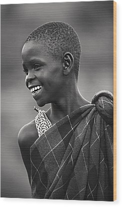 Wood Print featuring the photograph Masai #2 by Antonio Jorge Nunes