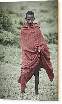 Wood Print featuring the photograph Masai #4 by Antonio Jorge Nunes