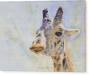 Wood Print featuring the painting Masai Giraffe by Bonnie Rinier