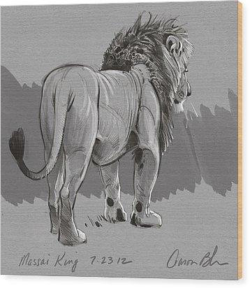 Masai King Wood Print by Aaron Blaise