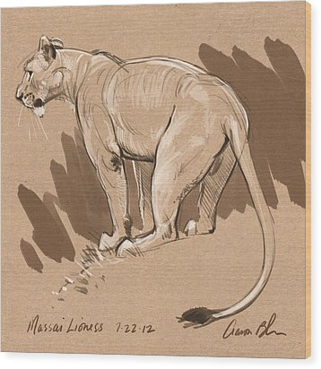 Masai Lioness Wood Print by Aaron Blaise