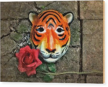 Mask And Rose Wood Print