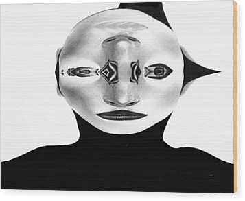 Wood Print featuring the painting Mask Black And White by Rafael Salazar