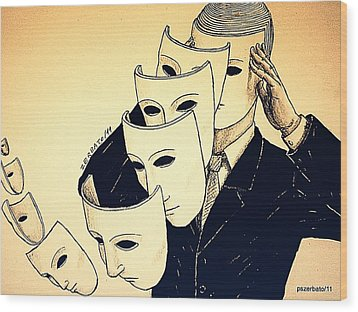 Mask Of Day By Day Wood Print by Paulo Zerbato