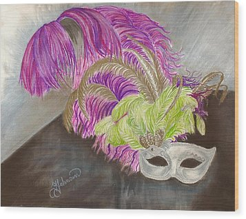 Wood Print featuring the drawing Mask by Yolanda Raker