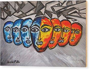 Masks Wood Print by Ramona Matei